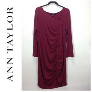Ann Taylor Long Sleeve Burgundy Dress w/Ruching
